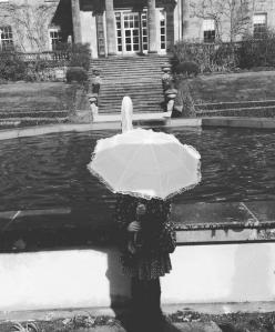 black and white parasol